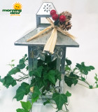 Christmas Tall Metal Lantern 11 in